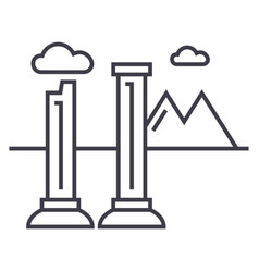 Monuments of ruins line icon sign vector