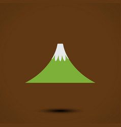 Mountain icon on brown background vector