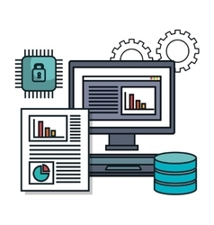 Pc computer data base document isolated vector