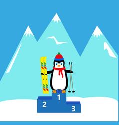 penguin skier winner champion vector image