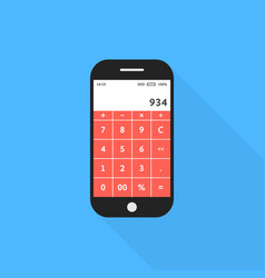 Phone with calculator app and shadow vector