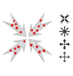 Polygonal wire frame compression arrows pictograph vector