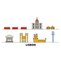 Portugal lisbon flat landmarks vector