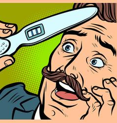 Pregnancy test joyful moustached man husband vector