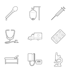 Research and first aid icons set outline style vector