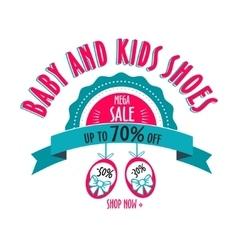 Sale label for shoes kids stores mega badge vector