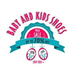 Sale label for shoes kids stores Mega sale badge vector
