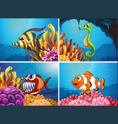 Sea animals under the sea vector