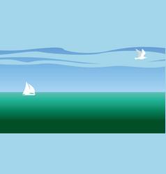 sea horizon sky flying seagull sailing yacht vector image