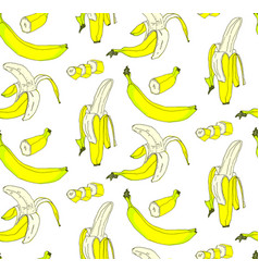 seamless pattern of whole and pieces of banana vector image