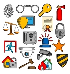 Security safety and protection icons vector