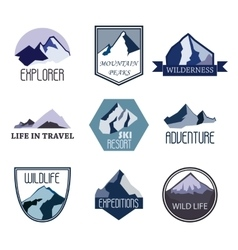 Set of mountain adventure and expedition logo vector image