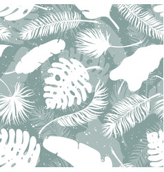 set of palm tree leaves seamless background vector image