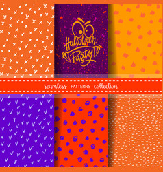 set of six hand drawn seamless patterns for autumn vector image