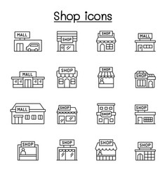 set shop line icons contains such icons vector image