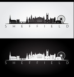 sheffield skyline and landmarks silhouette vector image