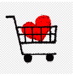 shopping cart with heart icon thin line for web vector image