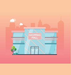 shopping mall building exterior flat design style vector image