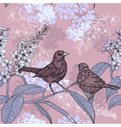 Sketch of a Birds and Flowers vector