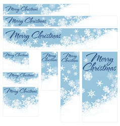 Snowflakes Christmas Web Banners Retro Blue vector
