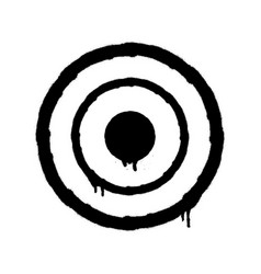 sprayed target icon graffiti overspray in black vector image
