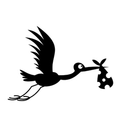 Stork baby simple icon vector image