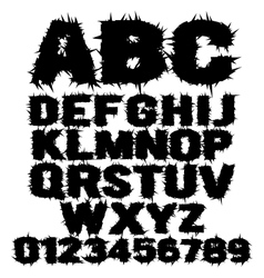 Studded grunge scary alphabet vector