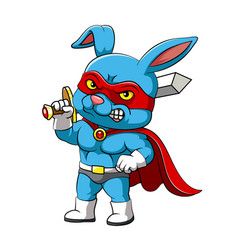Super rabbit with red mask is standing vector