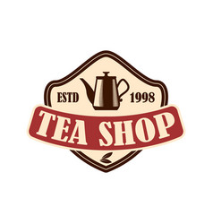 tea shop emblem template design element for logo vector image