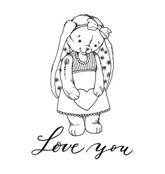 teddy bunny toy with heart coloring book vector image