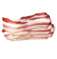 thin bacon strips fat slices of pork meat vector image