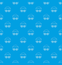 Train wagon pattern seamless blue vector