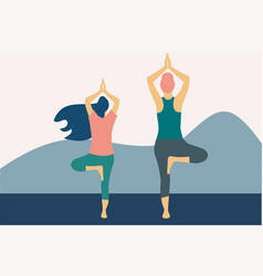 Two women practicing tree pose yoga vector