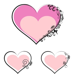 valentines day hearts with floral motifs vector image