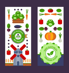 vertical banners with flat style icons farm vector image