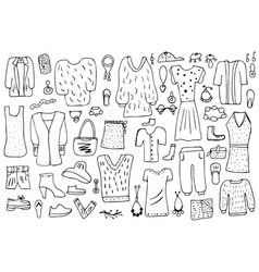 woman clothes and accessories set in doodle style vector image