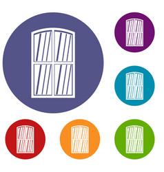 wooden window icons set vector image