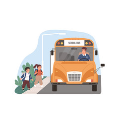 yellow school bus driver arrived at stop vector image