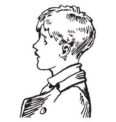 young boy wearing jacket facing left vintage vector image