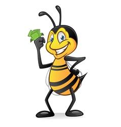 cartoon bee with money vector image vector image