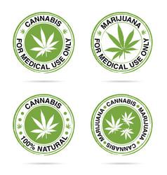 grunge rubber of marijuana set in green vector image vector image
