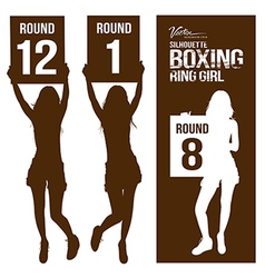Silhouette boxing ring girl holding sign vector image