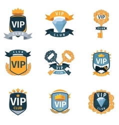 VIP club logo and emblems set vector image vector image