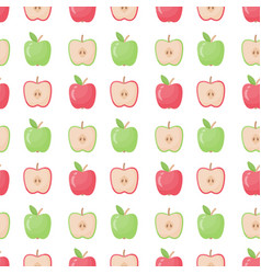 apple seamless pattern flat design vector image