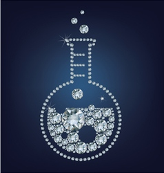 Chemistry flask icon made up a lot of diamonds vector image vector image