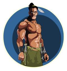 Injun with bare muscular torso vector