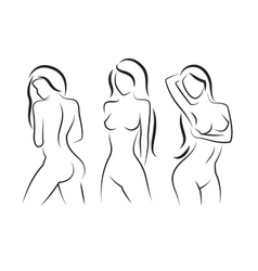 Nude woman silhouette Beautiful girl vector image