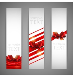 set of banners with red bows and ribbons vector image