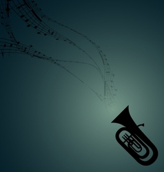 Tuba with Musical Symbols vector image vector image