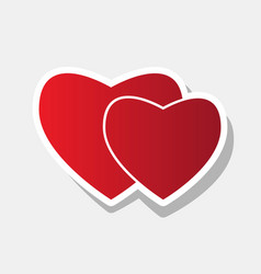 two hearts sign new year reddish icon vector image